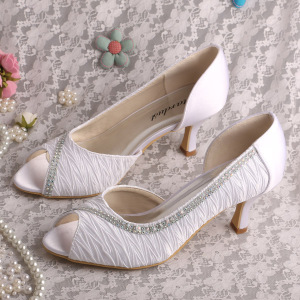 Hot Sale for for Women Satin Shoes Wedopus Mid Heel Bridal Pumps White export to India Wholesale