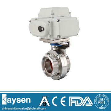 DIN Sanitary Electric Actuator Butterfly Valves Male end