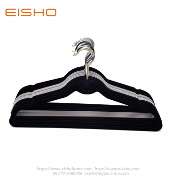 Plastic Velvet Clothes Hanger With Tie Hook