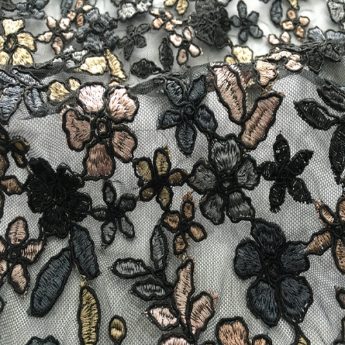 Colorful Flower Cord Embroidery Fabric For Dress