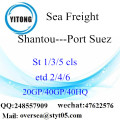 Shantou Port Sea Freight Shipping To Port Suez