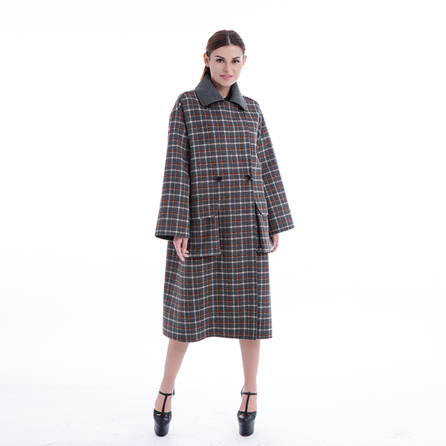 Checked cashmere overcoat