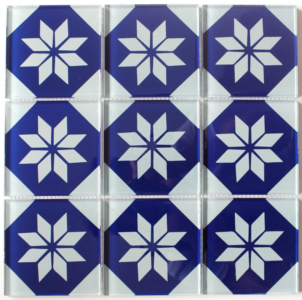 Flower Pattern Crystal Glass Mosaic