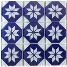 Blue Flower Pattern Crystal Glass Mosaic