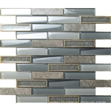 Rectangle marble and glass mix mosaic
