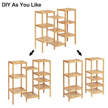 Bamboo Customizable Plant Stand Shelf Flower Pots Holder Display Rack Utility Shelf Bathroom Rack 9-Tier Storage Rack Shelving U