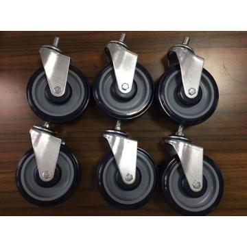 5 inch PU caster wheels for shopping carts