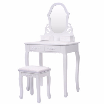 Cheap PriceList for Dressing Table And Stool Bathroom Vanity Wood Makeup4 Drawers Dressing Table Stool Set Sector Mirror export to Seychelles Wholesale