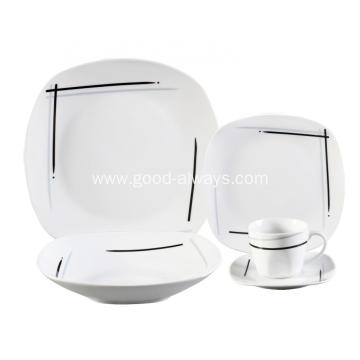 20 Piece Square Porcelain Dinner Set,Simple Lines