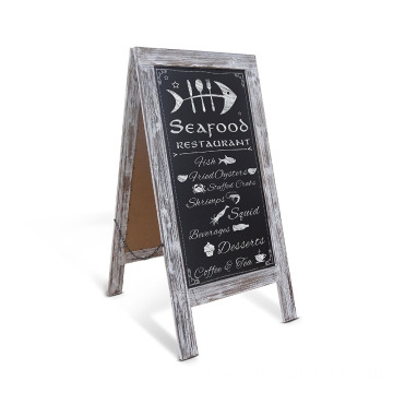 Rustic Vintage Wooden A-Frame Sturdy Sandwich Board Chalkboard Restaurant Message Board Display (Classic)