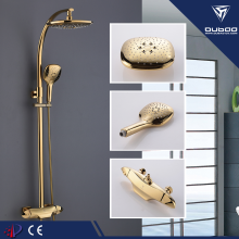10 Years for Brass Basin Faucet Golden Three Ways Bath Shower Faucet Set supply to Netherlands Supplier