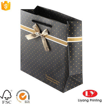 Cloth gift shopping paper bags with ribbon
