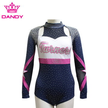 Customized glitter rhinestone cheerleading uniforms