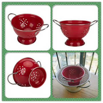 Hollow-Out Vegetable&Fruit Enamel Colander with Double Layer