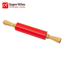 Smooth Wooden Handles Easy Grip Silicone Rolling Pin
