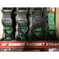 Packaged Rubber Handle Ratchet Tie Down Green Lashing Strap with 680KGS