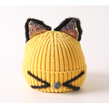 Unisex knit child winter hat hat with ears