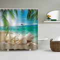 Starfish Beach Sea Palms Waterproof Shower Curtain Bathroom Tropical Style Batnroom Decor