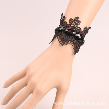 Black Lace Bracelet With Gemstone Hockey Lace Bracelet
