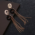 Bohemian Style Metal Beaded Tassel Earrings