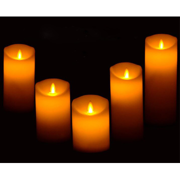 Moving flame real wax decoration led pillar candle