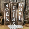 Rustic Sign Soak Wash Relax Bathroom Decor Set of Three