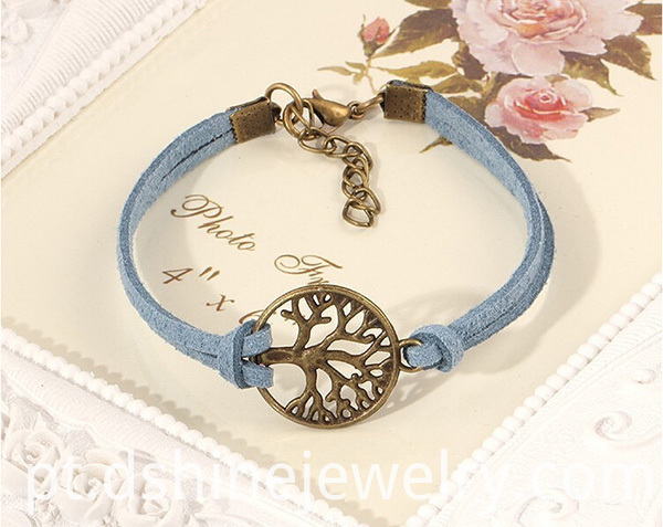Leather Bracelet with tree charm