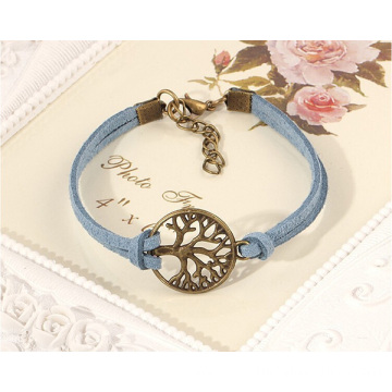 China for Leather Bracelet Wrapped Multilayer Genuine Leather Bracelet With Tree Charm supply to Botswana Factory