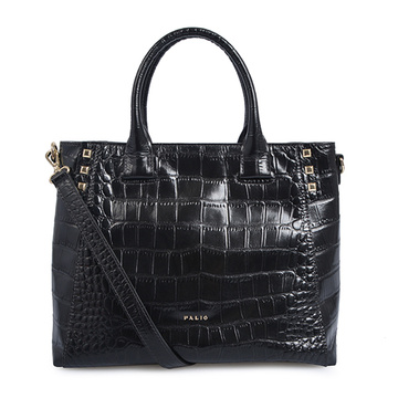 Croc Leather Petrol Embossed Business Tote Handbag