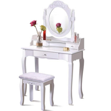 Round Mirror 3 Drawers Vanity Wood Makeup Dressing Table Stool Set