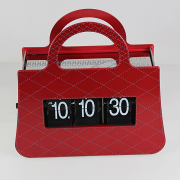 Red Handbag Flip Clock For Decor