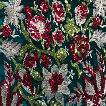 Colorful Flower Sequin Velvet Embroidery Fabric