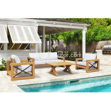 4pcs teak wood like aluminum patio sofa set