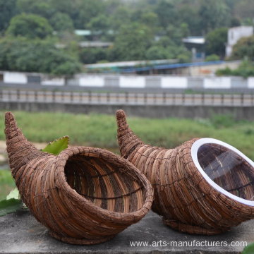 Weaving Rattan Cornucopia Flower Basket