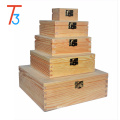 variety square wooden gift boxes storage with lid and clasp