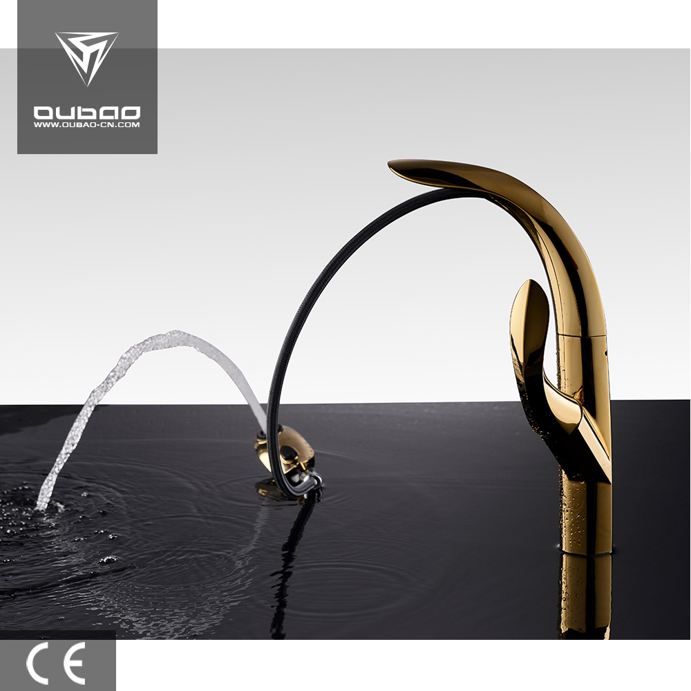 Hot sale golden pull out kitchen mixer faucet