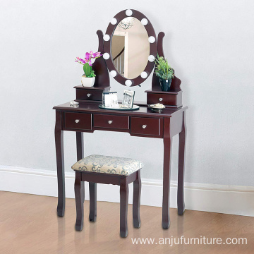 Brown Dressing Table with Stool and LED Lights with 5 Drawers and Mirror Dresser Furniture Dresser Makeup Table