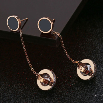 Long Chain Cubic Zirconia Circle Drop Earrings