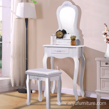 Cheap PriceList for Drawers Dresser White Makeup 1 Mirror 3 Drawer Stool Shabby Chic Wooden Dressing Table Designs export to Venezuela Wholesale