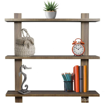 3 Tier Walnut Floating Shelf Asymmetric Square Wall Shelf Decorative Hanging Display Wall Mounted Hanging Shelf