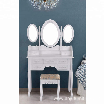 Makeup Dressing Table 7 Drawers Vanity Table Set with Folding Oval Mirror