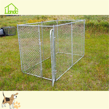 Silver outdoor large metal chain link dog kennel