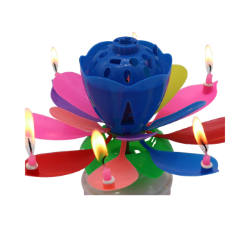 Color box rotating birthday flower music candle