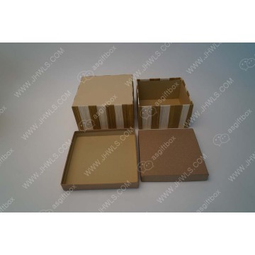 Brown white vertical stripes square gift box