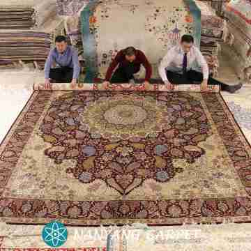 9.5'x12.8' Red Hand Knotted Pure Silk Persian Rug