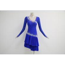 Blue latin dance costumes for competition