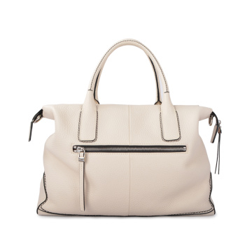 New Leather Shopper Tote Bag With Leather Puller