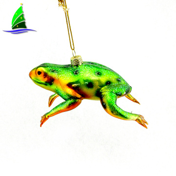 Hanging Glass Frog Ornament For Christmas