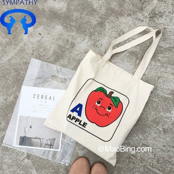 Custom-made smiley apple canvas bag sloped across package