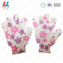 Flower style gradient bath gloves